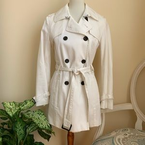 Banana Republic White Belted Trench Coat